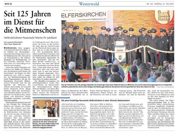 Bericht der Westerwälder Zeitung vom 27.05.2019