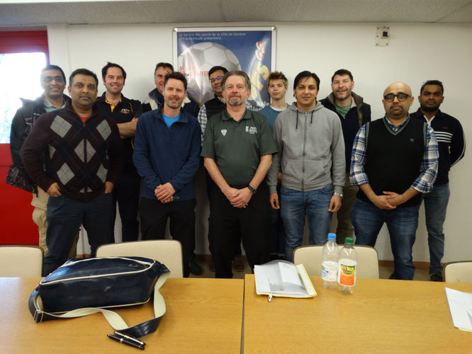 Participants at ECB ACO Stage One Umpiring class in Geneva (7.3.2020)