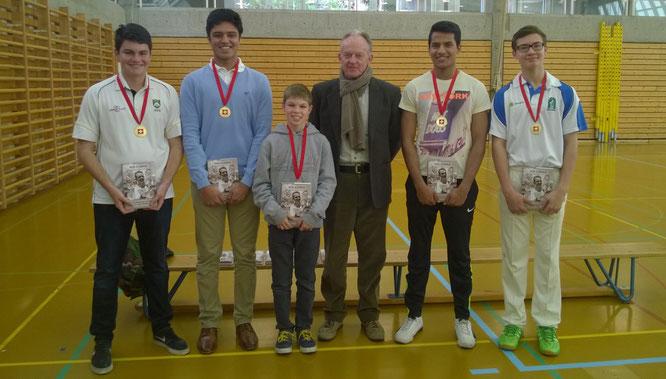 2015 Bob Barber Award winners (l-r): T.Allen, J.Sinh, T.Harper, A.Vinod, L.Specogna