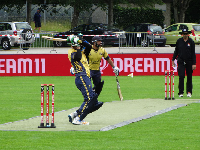 Action from the DREAM11 European Cricket Series CST10 St Gallen