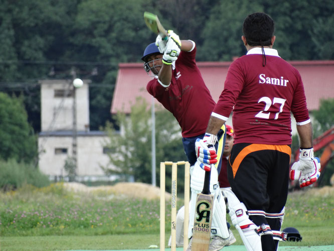 Latvia batting versus Switzerland at the Euro T20 Cup (11-14.8.2016)