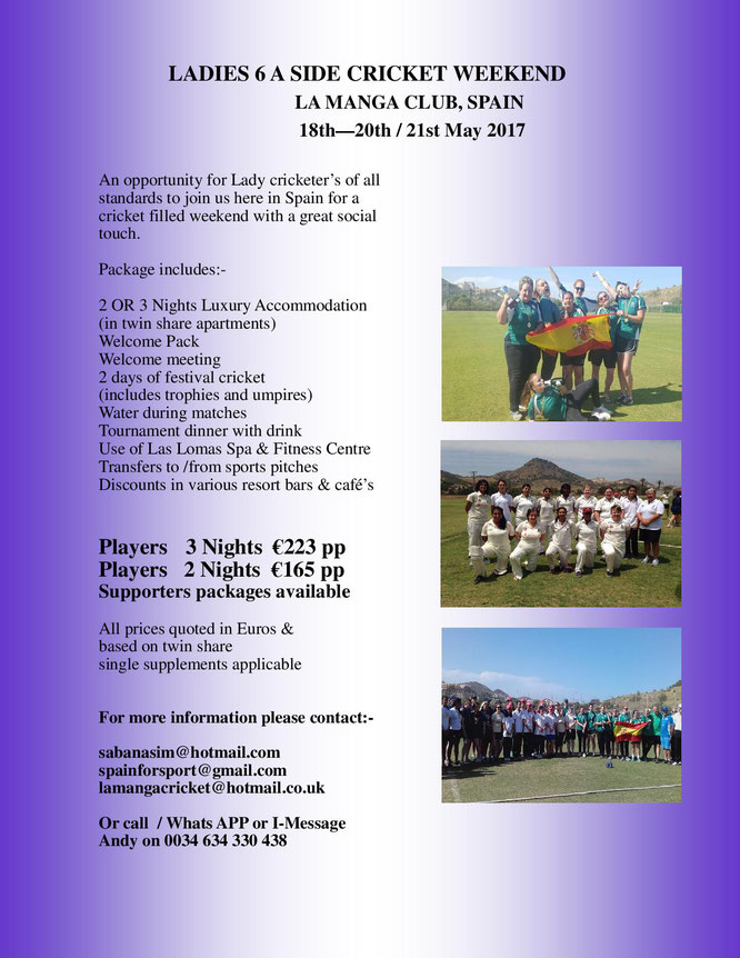 Ladies 6-a-side in La Manga, Spain (18-20.5.2017)