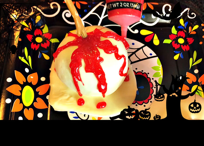 candy apple, bloody apple, halloween apple, recipes for Halloween