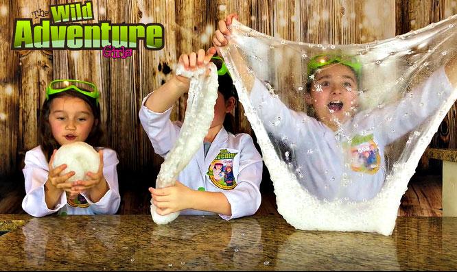 Slime, diy, cloud slime, crafts, slime recipe, the wild adventure girls