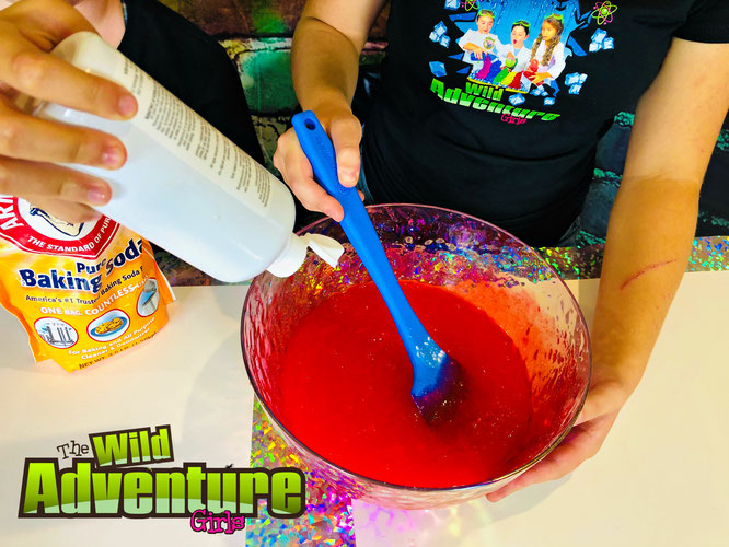 activating slime, mixing slime, slime recipes for kids.  The Wild Adventure Girls.  Kids Videos.