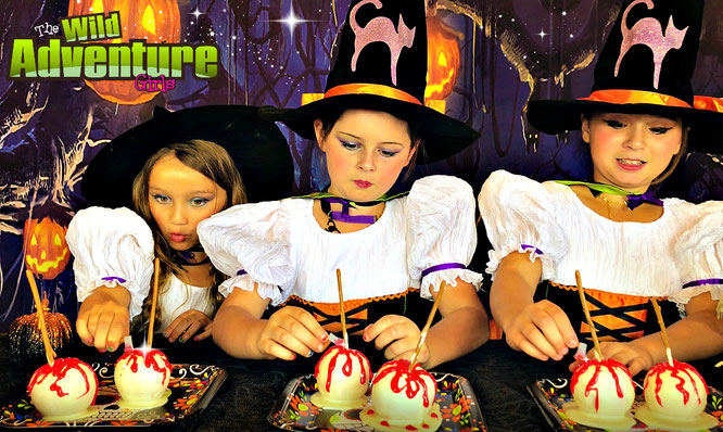 Halloween, candy apples, bloody apples, treat, recipe, the wild adventure girls