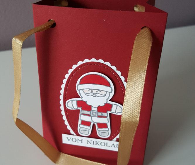 Stampin' Up! Stanz- und Falzbrett für Geschenktüten Nikolaus Tasche Sackerl Stempelkiste Framelits Ovale