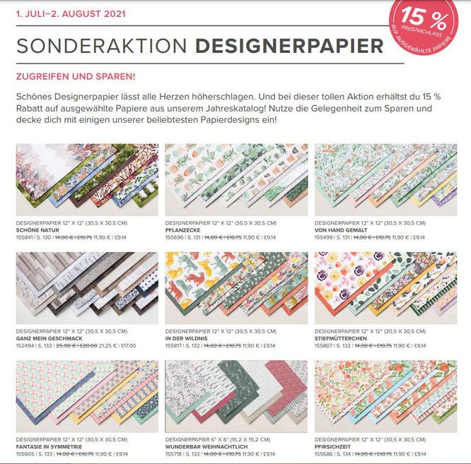 Designerpapier, DSP, Schöne Natur, von Hand gemalt, Wunderbar weihnachtlich, Aktion, Nachlass, Jahreskatalog, Stampin' Up!, Stempelkiste, Juli