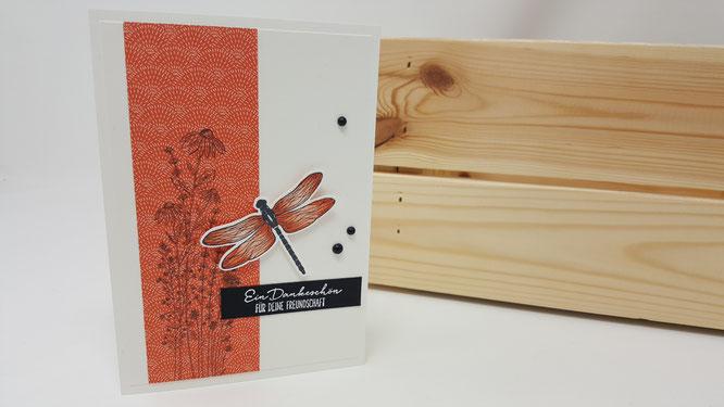 Libellengarten, Libelle, Danke, Blumen, Geburtstag, Karte, Minikatalog, Frühling, Stampin Up, Stempelkiste