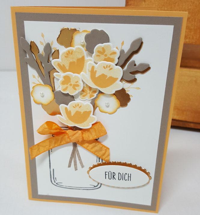 Stampin' Up! Glasklare Grüße Einweckgläser Stanze Framelites pfirsich pur taupe Geburtstag Karte Blumen Blumenstrauß