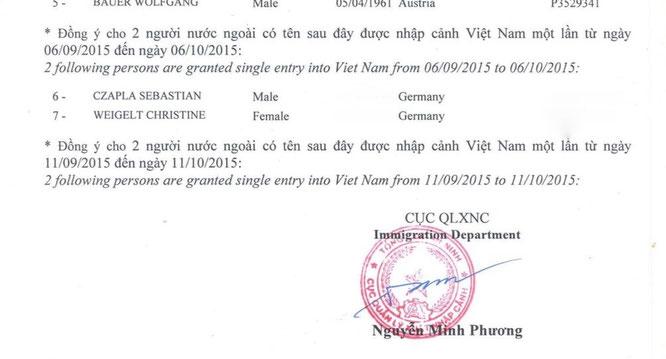 """Das """"Einladungsschreiben"""" für das Visa-on-arrival"""