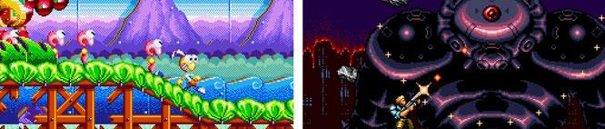"""Bildschirm-Chaos auf Pixel-Speed: Schnelle Action-Titel wie Treasures """"Dynamite Headdy"""" (links) oder Konamis """"Contra: Hard Corps"""" profitierten von dem schnellen Mega-Drive-Prozessor."""