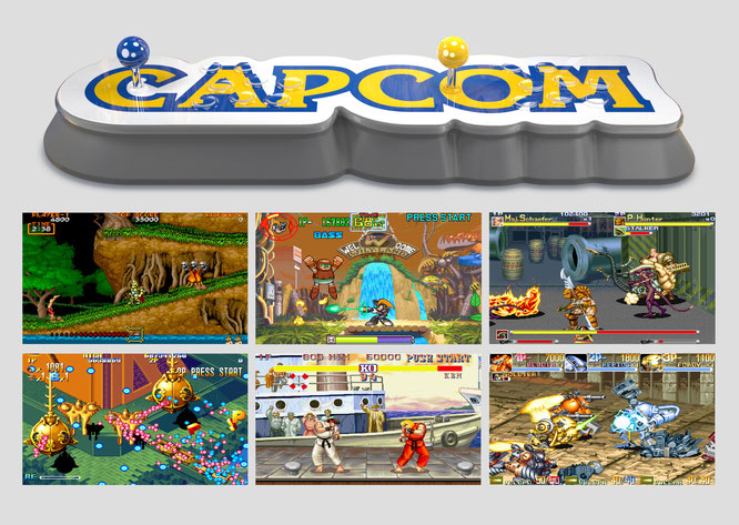Spiele-Bilder (von links nach rechts): Ghouls'n Ghosts, Mega Man: Power Battle, Alien vs. Predator, Giga Wing, Sreet Fighter 2 Turbo, Armored Warriors (alle © Capcom)