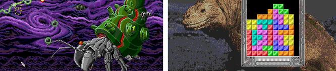 """Mini-exklusive Titel, die es für das Original-Mega-Drive gar nicht gab: Die Arcade-Umsetzung """"Darius"""" (links) und ein brauchbarer """"Tetris""""-Port."""