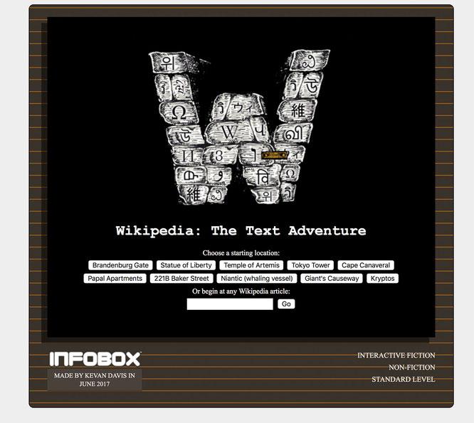 """Das Titelbild von Davis' """"Wikipedia Text Adventure"""" beweist Genre-Kenntnis: Die Grafik ist überdeutlich am Genre-Klassiker """"Zork"""" angelehnt."""