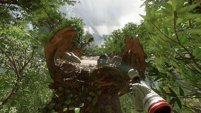 Sieht aus wie die Ingame-Entsprechung zum Move-Controller der PS4, wird aber mit dem Joypad gesteuert: Ein Stab, mit dem Held Robin seine urzeitliche Umgebung scannt und 'telekinetisch' manipuliert.