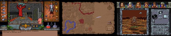 """1992 verwandelt Origins """"Ultima Underworld"""" (links) die schrittweise scrollenden oder blätternden 3D-Dungeons in flüssige 3D-Kavernen mit Auto-Map (Mitte). Auch das deutsche RPG """"Ambermoon"""" (rechts) von Thalion lockt 1993 in Flüssigscroll-Verliese."""