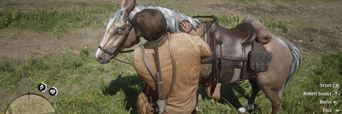 """Wird liebevoll gepflegt, muss dafür aber auch eine ganze Menge aushalten: Arthur Morgans Pferd in """"Red Dead Redemption 2"""""""