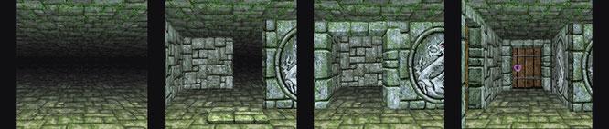 Hier haben wir mit Bausteinen aus Guidos Projekt-Fundus ein paar Beispiele konstruiert: Links der nackte Hintergrund, daneben typische Dungeon-Szenen, die wir aus Elementen verschiedener Größe und Perspektive konstruiert haben.