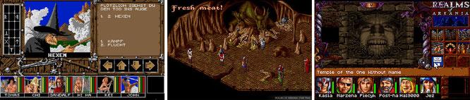 """Die ersten Dungeon-Schritte machte Attic in """"Spirit of Adventure"""" (links) für ST, Amiga, PC und C64, aber ein zeitloses Denkmal setzte man sich mit der im DSA-Kosmos beheimateten """"Nordland-Trilogie"""" (Mitte und rechts)."""