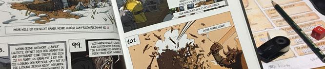 """Inzwischen gibt es auch Spielbuch-Comics wie """"Loup Garrou"""" von Pegasus Press. Meistens ist jeder der interaktiven Abschnitte exakt ein Bild lang. Zusätzlich gibt es interaktive Elemente wie Karten und Suchbilder. Man nähert sich dem Computerspiel an."""