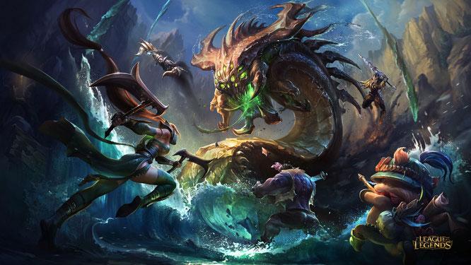 """Gehört ebenfalls zum Marken-Kader des wild wuchernden Tencent-Imperiums: das beliebte MOBA-Game """"League of Legends"""". Denn: Tencent hält eine Mehrheitsbeteiligung an dessen Entwickler Riot Games."""