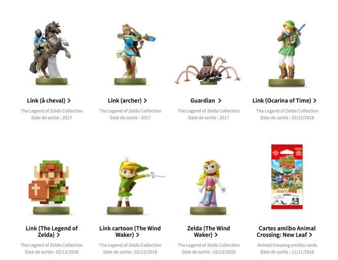 """Wurden auf Nintendos französischer Website kurzzeitig auf den 4. März 2017 terminiert: amiibos zum NX-Starttitel """"The Legend of Zelda: Breath of the Wild""""."""