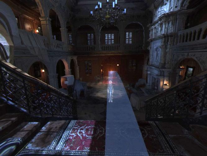 """Den VR-Level von """"Rise of the Tomb Raider"""" für PS4 durchqueren wir, indem wir mit dem Pad ein Abbild von Lara platzieren und dann auf Button-Druck dorthin 'beamen'. Und keine Angst: Auf dem Headset sieht Croft Manor  atemberaubend aus."""
