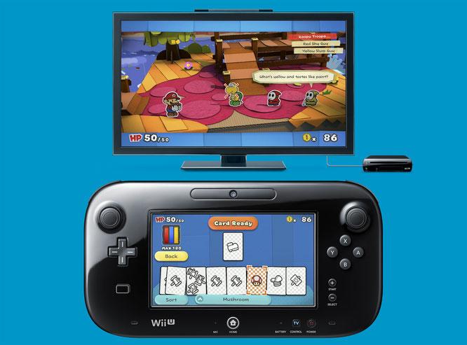 Harmonisches Zusammenspiel: Die Attacken für die Rundenkämpfe werden auf dem Gamepad als Sammelkarten sortiert, eingefärbt und anschließend auf die TV-Mattscheibe geschubst.