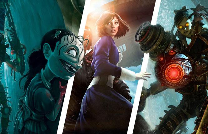 """Bilder: """"Bioshock"""", """"Bioshock Infinite"""", """"Bioshock 2"""" von 2K; Composing: Robert Bannert"""
