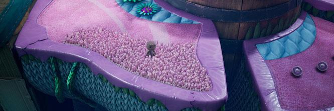 """Mit glänzendem Lackleder abgesetzte Wolle-Wiesen, Filz-Blumen, Hügel aus Steppstoff, Papier-Pflanzen und Fass-Berge: """"Sackboy: A Big Adventure"""" entführt in einen zauberhaften Handarbeits- und Hobby-Kosmos"""