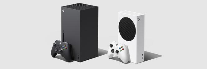 Next-Gen-Doppel von Microsoft: der wuchtige Series-X-Monolith und die kleinere, Schallplattenspieler-ähnliche Series S