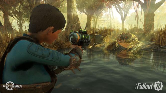 """Das nukleare Ödland aus Bethesdas """"Fallout 76"""" birgt viele Gefahren. Jetzt haben findige Spieler einen Weg aufgetan, um die Bedrohungen zu entschärfen: Man rüstet sich, indem man die im Spiel versteckte Entwickler-Waffenkammer plündert."""