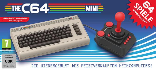 """Der """"C64 Mini"""" ist nicht ganz so mini wie die offensichtlichen Vorbilder von Nintendo: Laut Hersteller Retro Games wurde das Original nur um etwa 50 Prozent geschrumpft."""