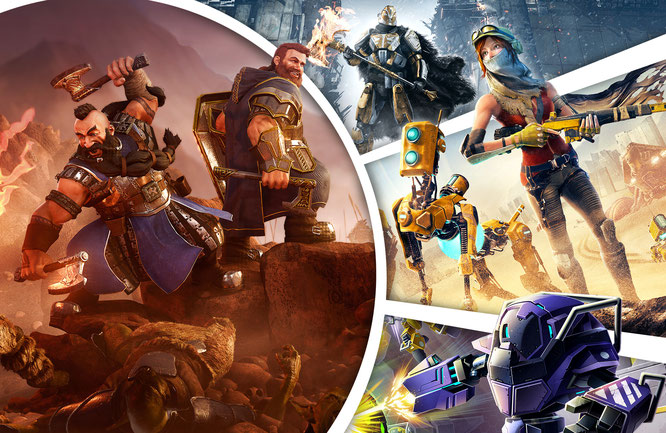 Bild-Composing: Robert Bannert •abgebildete Spiele: Die Zwerge; Destiny: Rise of Iron; ReCore; Metroid: Federation Force