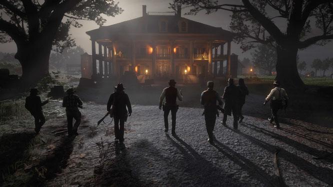 Die Bande von Dutch und Morgan marschiert auf einen Südstaaten-Landsitz zu, um den entführten Sohn von John Marston zu befreien. Der ist leider schon weg, darum wird aus Rache das Haus abgefackelt und jeder gemeuchelt.