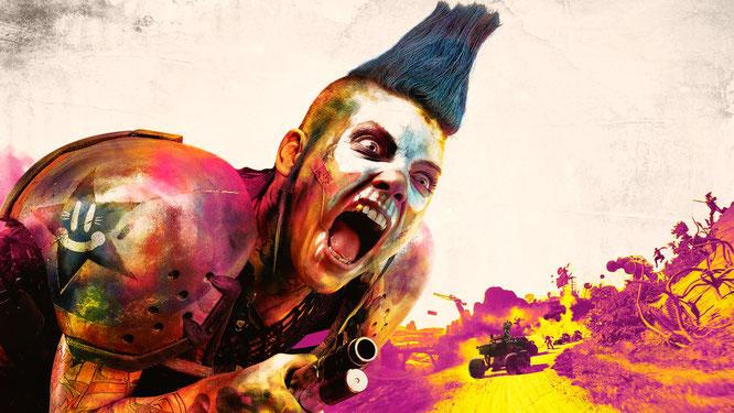 """Grell und punkig statt trist und grau wie die meisten Endzeit-Schlachten: Bethesdas """"Rage 2"""" für PC, PS4 und Xbox One."""
