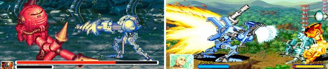 "Finden im selben Mecha-Universum statt: die Horizontal-Klopperei ""Armored Warriors"" (links) und ganz viel Duell-Dresche bei ""Cyberbots: Full Metal Madness"" (rechts)."
