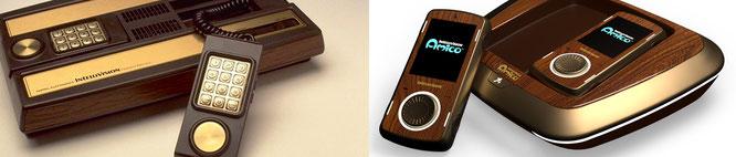 Kommt dem kultigen Original (links) am nächsten: Das Intellivision-Amico-Modell mit Holzfunier-Optik