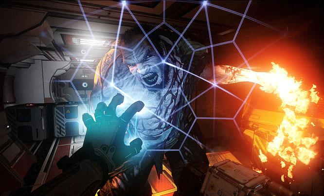 Gegen Angriffe von hungrigen Weltraum-Zombies hilft nur der rechtzeitige Aufbau eines Schutzschirms. Aber Vorsicht: Die dafür benötigte Anzugs-Energie wird auch für andere Fähigkeiten benötigt und regeneriert sich nur langsam.