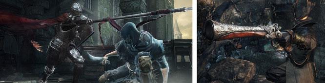 """Wenden sich gezielt von etablierten Spielspaß-Formeln ab, um so hart wie möglich zu sein: From-Software-Titel wie """"Dark Souls 3"""" (links) oder das PS4-exklusive """"Bloodborne"""" (rechts). Kolossale Verkaufserfolge sie dabei allerdings keine."""