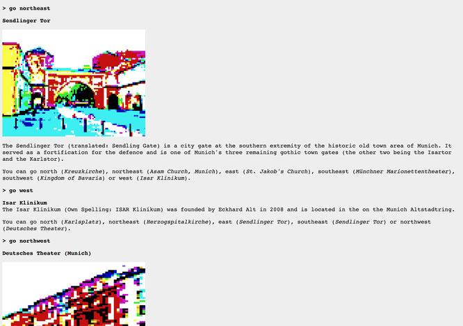 """Eine geographisch nicht ganz korrekte Reise durch die bayerische Hauptstadt München: Im Süden geht's laut """"Wikipedia Text Adventure"""" nach """"Oberbayern"""", im Südosten zum """"Königreich Bayern""""."""