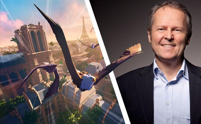 """Hat die Übernahme durch Vivendi vorerst abwehren können und darf weiter experimentelle Entwicklungen wie die von """"Eagle Flight"""" (links im Bild) antreiben: Ubisoft-Geschäftsführer und -Mitgründer Yves Guillemot."""