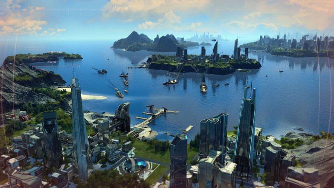 """Neue Sektoren, neue Angestellte, neue Features: """"Anno 2205"""" bekommt die letzte große Erweiterung – """"Frontiers""""."""