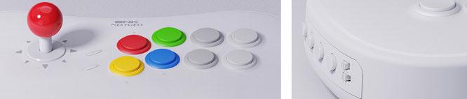"""SNK-Spiele kommen mit den vier farbigen Buttons klar, aber für den Betrieb mit anderen Konsolen bringt der Stick noch mehr Buttons mit. RECHTS: Funktionstasten wie """"Start"""" sind auf der rechten Seite untergebracht."""