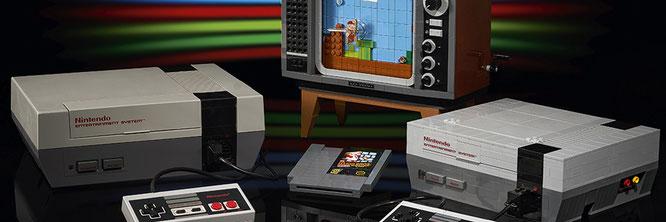 Das LEGO NES (rechts im Bild) ist fast genauso groß wie die Original-Konsole. Schade: Ein Fake-Kabel für den Anschluss an den Fernseher hat LEGO leider vergessen