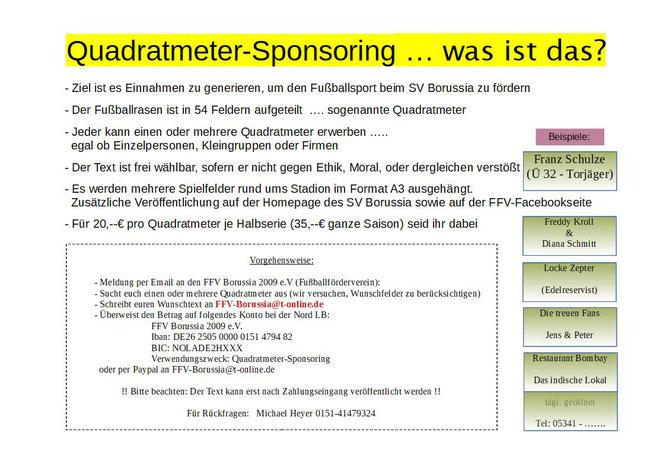 Ablauf und Daten zum Quadratmeter-Sponsoring