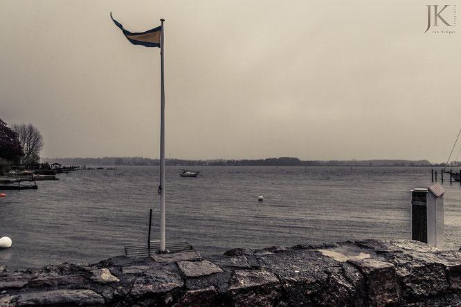Schleswig, Hafen, Regenschauer, Sturm