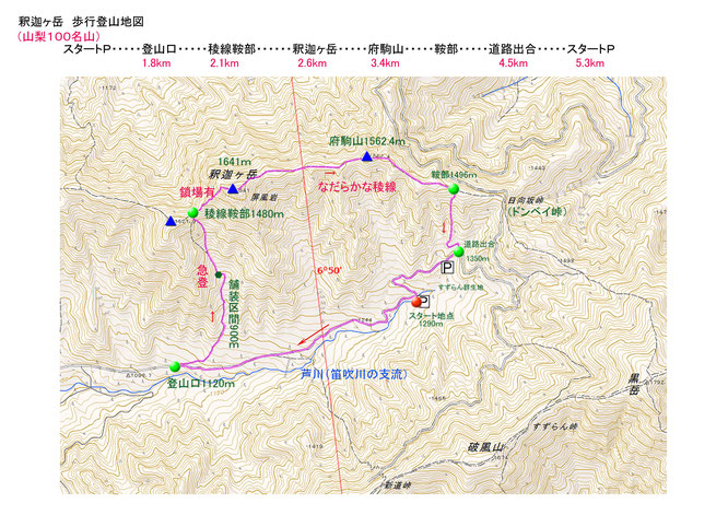 山梨百名山・釈迦ヶ岳地図