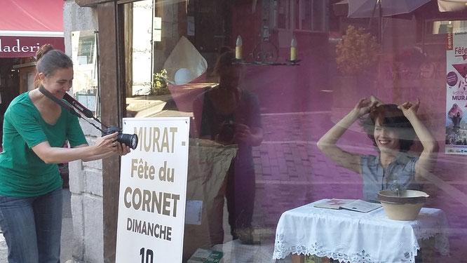 ©Maud Anginieur, Tournage à Murat, été 2016, Clotilde Amprimoz et Isabelle Franques